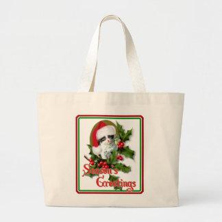Old Style Christmas Kitten Season's Greetings Canvas Bag