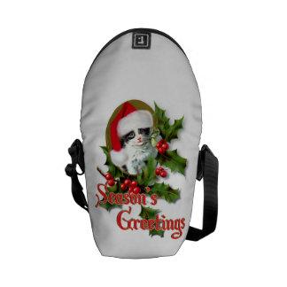 Old Style Christmas Kitten Season's Greetings Commuter Bag