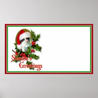 Old Style Christmas Kitten Season's Greetings Poster