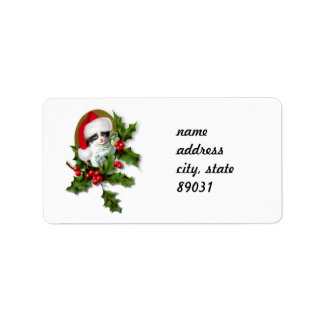 Old Style Vintage Christmas Kitten Address Label