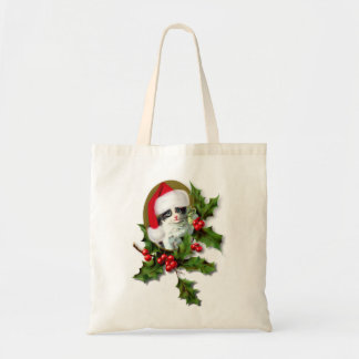 Old Style Vintage Christmas Kitten Canvas Bags