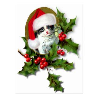 Old Style Vintage Christmas Kitten Postcard