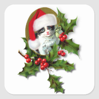 Old Style Vintage Christmas Kitten Square Sticker