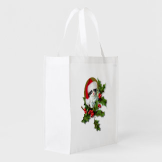 Old Style Vintage Christmas Kitten Market Totes