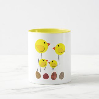 Old Style Yellow Chicken Family and Easter Eggs Mug