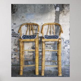 Old styled bamboo chairs, Xitang, Zhejiang, Poster