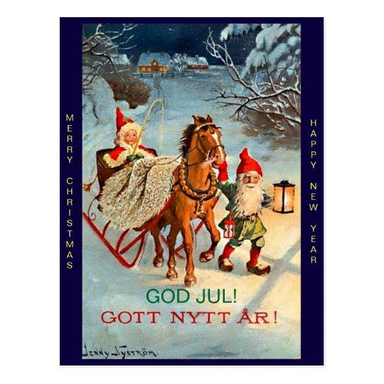 Old Swedish Tomte Elf Merry Christmas & New