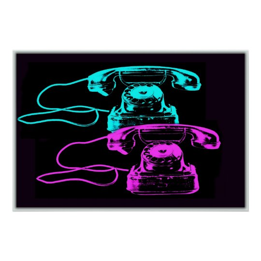 Old Telephone Collage Poster