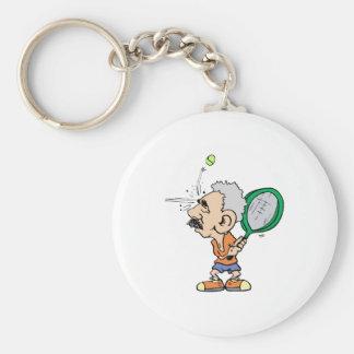 Old Tennis Player Basic Round Button Key Ring