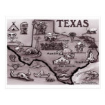 Old Texas Cartoon Map Post Card