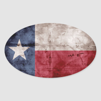 Old Texas Flag Oval Sticker