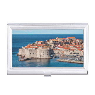 Old Themed, Ancient Village Of Castles With Red Ro Case For Business Cards