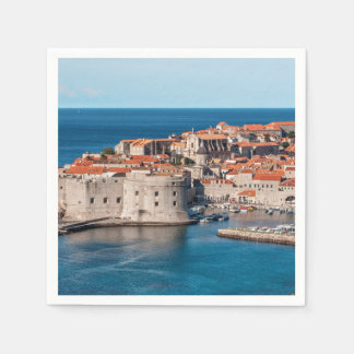 Old Themed, Ancient Village Of Castles With Red Ro Disposable Serviettes