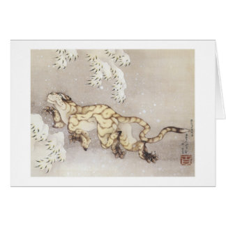 Old Tiger in the Snow, Hokusai, 1849 Greeting Card