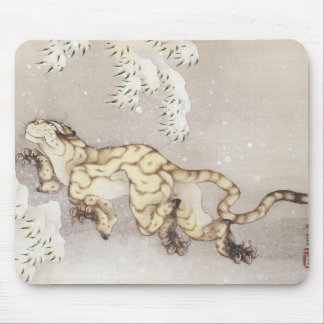 Old Tiger in the Snow, Hokusai, 1849 Mousepad