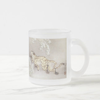 Old Tiger in the Snow, Hokusai, 1849 Mugs, Steins Frosted Glass Mug