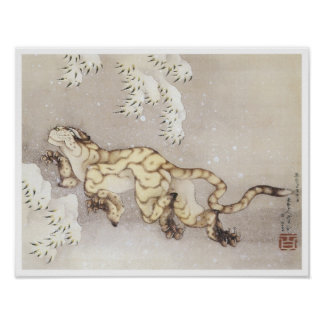Old Tiger in the Snow, Hokusai, 1849 Poster