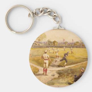 Old Time Base Ball Basic Round Button Key Ring