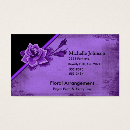 Old TIme Purple Rose Floral Set Business Card