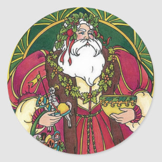 Old Time Santa Classic Round Sticker