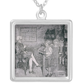 Old-Time School in Pennsylvania Silver Plated Necklace