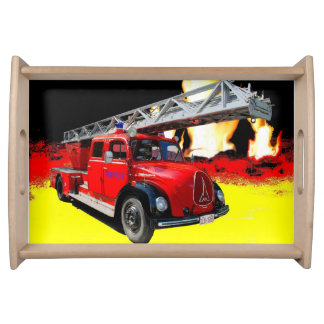 Old timer fire engine serving tray