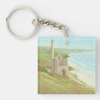 Old Tin Mine, Coast Path Cornwall Acrylic Key Ring