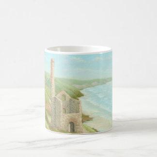 Old Tin Mine Coast Path Cornwall Classic White Mug