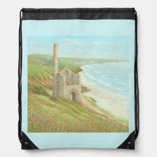 Old Tin Mine, Coast Path, Cornwall Drawstring Bag