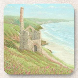 Old Tin Mine Coast Path, Cornwall Plastic Coasters