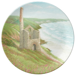 Old Tin Mine, Coast Path, Cornwall Porcelain Plate