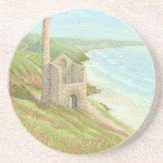 Old Tin Mine Coast Path Cornwall Sandstone Coaster