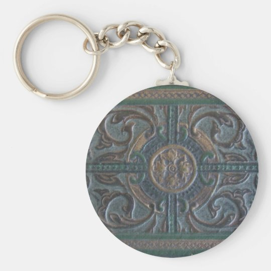Old Tooled Leather Journal Basic Round Button Key Ring