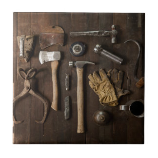 Old Tools on Wood Background Ceramic Title Small Square Tile