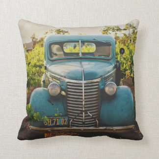 Old Town Country Vintage Automobile Rustic Blue Cushion
