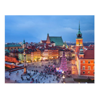 Old Town of Warsaw in Poland by Night Postcard