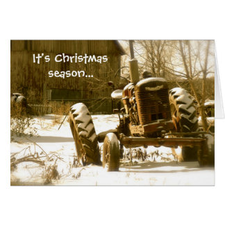 Old Tractor Christmas Card: Xmas Season Card