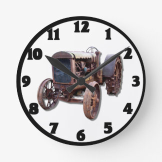 OLD TRACTOR-CLOCK ROUND CLOCK