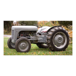 Old tractor in fall card