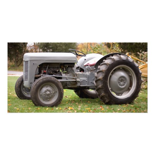 Old tractor in fall customised photo card