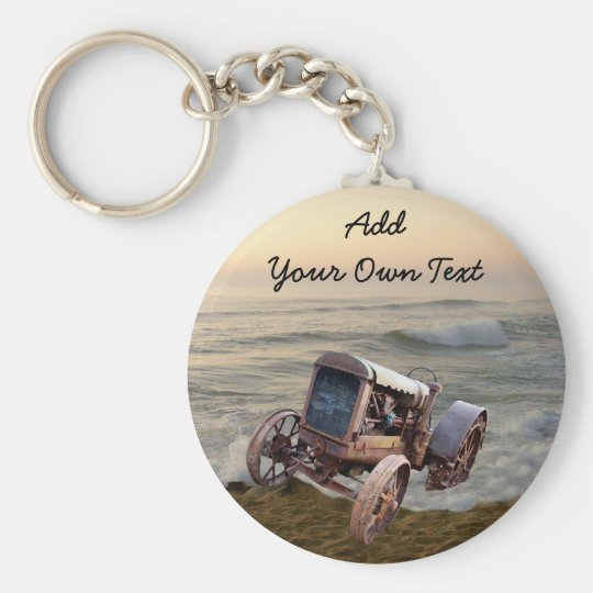 OLD TRACTOR IN SURF--KEYCHAIN BASIC ROUND BUTTON KEY RING