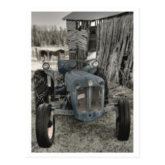 old tractor postcard