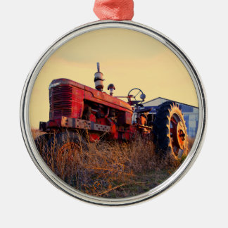 old tractor red machine vintage christmas ornament