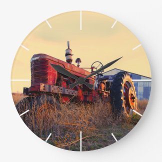 old tractor red machine vintage large clock