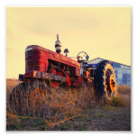 old tractor red machine vintage photo print