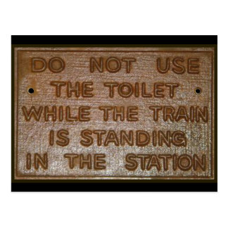 old train toilet sign postcard