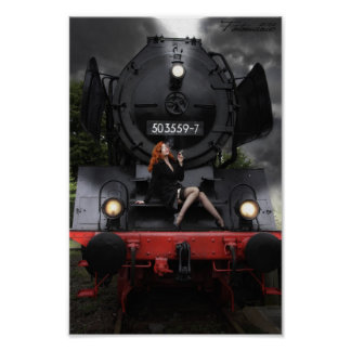 Old Train, young lady Poster