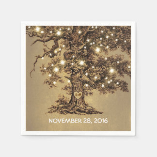old tree and string lights wedding paper napkins paper napkin