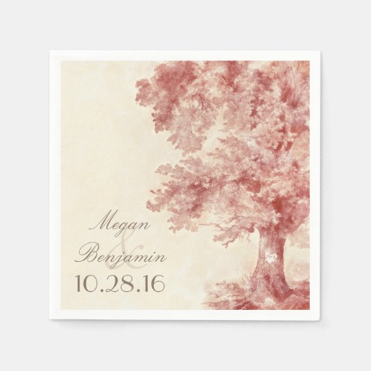Old tree blush colours wedding paper napkins