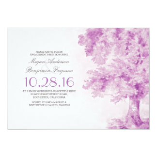 old tree purple heart watercolor engagement party card